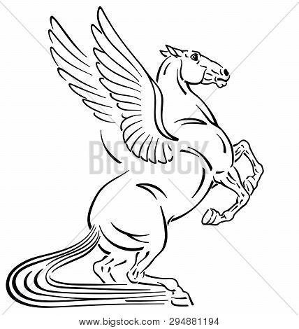 Pegasus Mythological Winged Horse . Outline Tattoo Style Vector Illustration