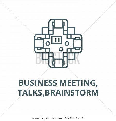 Business Meeting, Talks, Brainstorm Line Icon, Vector. Business Meeting, Talks, Brainstorm Outline S