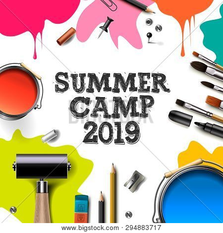 Kids Summer Camp 2019, Education, Creativity Art Concept. Banner Or Poster With White Background, Ha