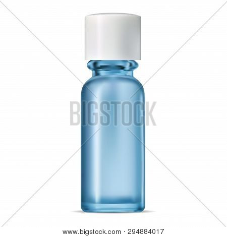 Blue Glass Bottle. Isolated Transparent Jar. Serum Pack. Realistic Cobalt Container For Perfume Mois