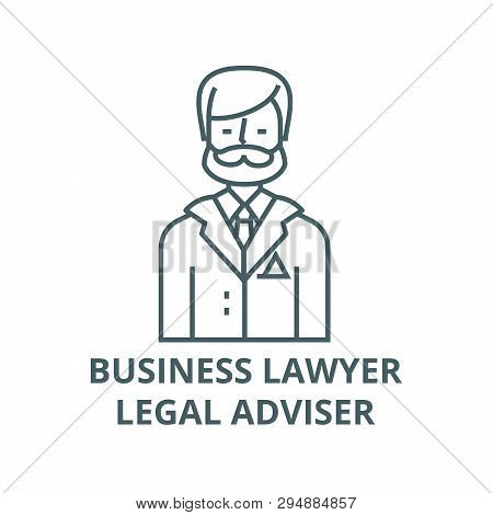 Businessman, Business Lawyer, Legal Adviser Line Icon, Vector. Businessman, Business Lawyer, Legal A