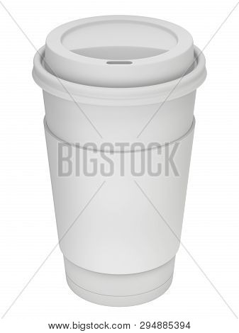Clay Render Of Take-out Coffee In Thermo Cup With The Lid - 3d Illustration
