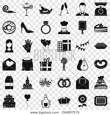 Banquet Cake Icons Set. Simple Style Of 36 Banquet Cake Vector Icons For Web For Any Design