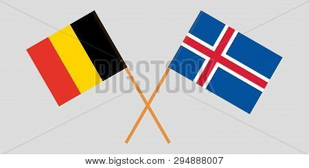 Iceland And Belgium. The Icelandic And  Belgian Flags. Official Colors. Correct Proportion. Vector I