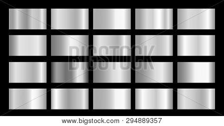 Silver Metallic, Chrome, Aluminium, Platinum, Steel, Iron Metal Foil Texture Gradient Template
