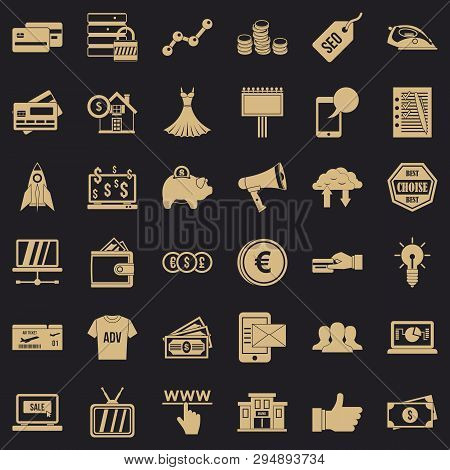 Online Buying Icons Set. Simple Style Of 36 Online Buying Vector Icons For Web For Any Design