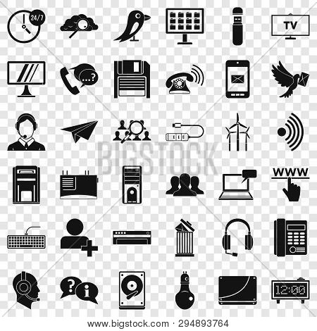 Global Communication Icons Set. Simple Style Of 36 Global Communication Vector Icons For Web For Any