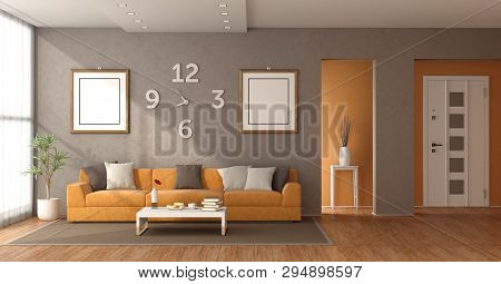 Modern Living Room With Orange Sofa And Closed Front Door On Background - 3d Rendering