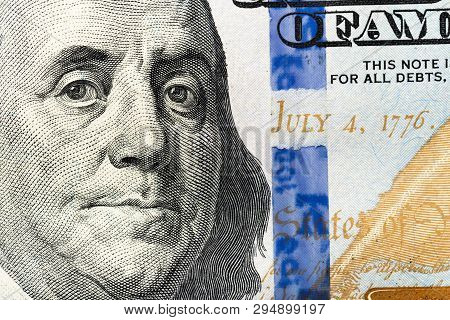 American Dollars. A Stack Of Hundred Dollar Bills. Close Up Of New Hundred Dollar Bill On The White