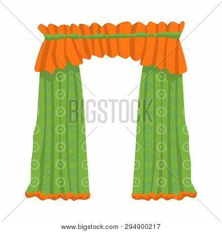 Vector design of drapes and cornice symbol. Collection of drapes and cosiness vector icon for stock. poster