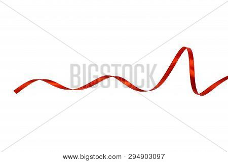 Red Satin Ribbon Isolated On White Backgroung