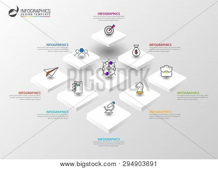 Infographic Design Template. Creative Concept With 8 Steps. Can Be Used For Workflow Layout, Diagram
