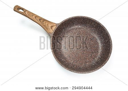Photo Of A Ceramic Frying Pan With A Wooden Handle Isolated On A White Background.