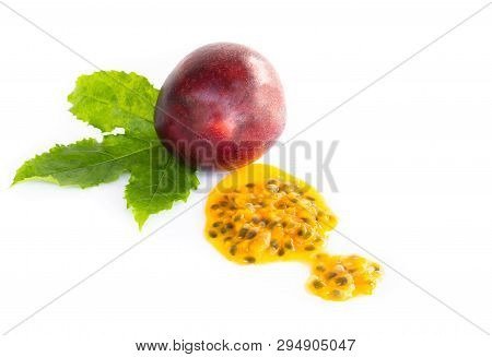 Fresh Passion Fruit Seeds Isolated On White Background, Food Healthy Concept
