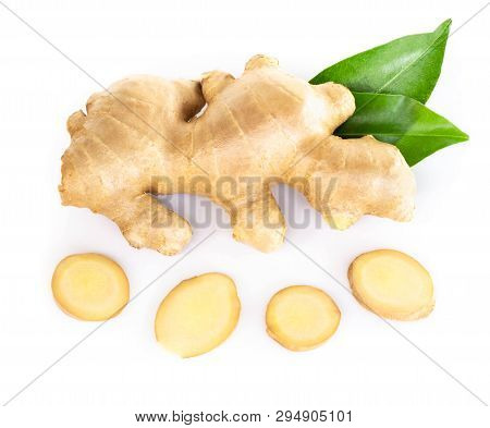 Fresh Ginger Root With Sliced Islolated On White Background For Herb And Medical Product Concept