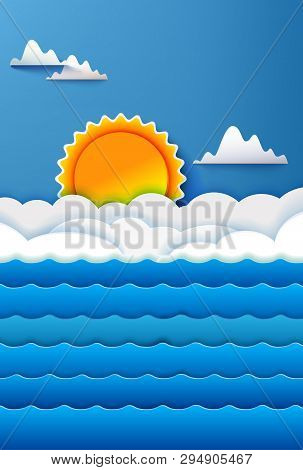 Sea Waves On Poster With Blue Sky And Summer Sun. Origami Paper Art Cut Out Style. Vector Illustrati