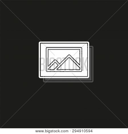Photo Gallery Icon - Photo Gallery Element - Picture Frame Symbol. White Flat Pictogram On Black - S