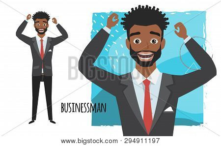 The Black African American Businessman Is Happy And Smiling. Emotion Of Joy And Glee On The Man Face