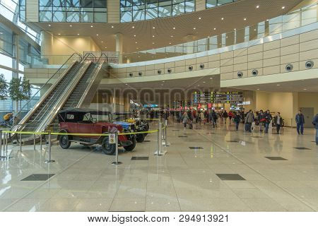 Moscow. Russia. 12 April 2019. The Interior Of The Moscow Domodedovo Airport, Dme. Exhibition Of Ret