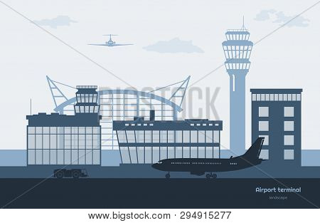 Landscape Of Airport. Transportation Terminal Silhouette. Airplane On Aerodrome Background. Aviation