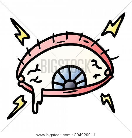hand drawn gradient cartoon doodle of an enraged eye