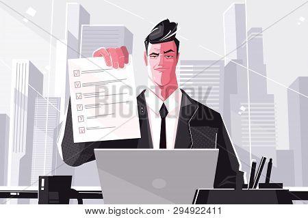 Confident Business Man Filled Form. Vector Illustration