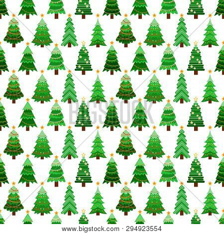 Seamless Pattern With Green Fir-trees. Winter Background