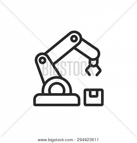 poster of Robotic arm icon isolated on white background. Robotic arm icon in trendy design style. Robotic arm vector icon modern and simple flat symbol for web site, mobile, logo, app, UI. Robotic arm icon vector illustration, EPS10.