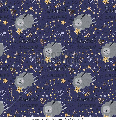 Seamless Pattern With Sleeping Sheeps. Vector Illustration For Your Design