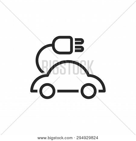 Electric Car Icon Isolated On White Background. Electric Car Icon In Trendy Design Style. Electric C