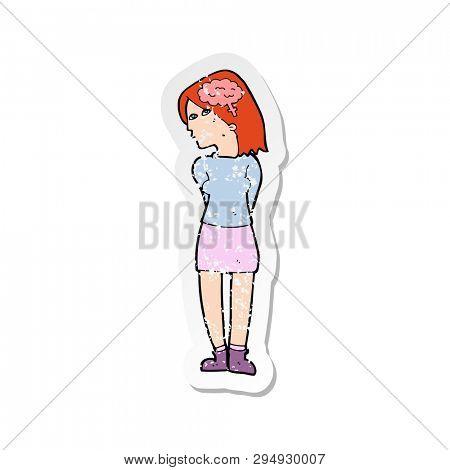 retro distressed sticker of a cartoon brainy woman