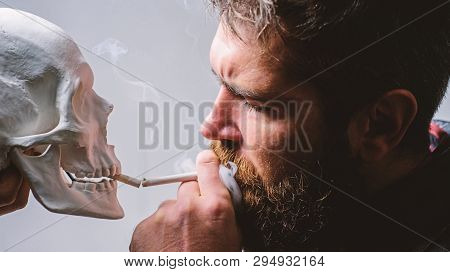 Harmful Habits. Destroy Your Health. Smoking Is Harmful. Habit To Smoke Tobacco Bring Harm To Your B