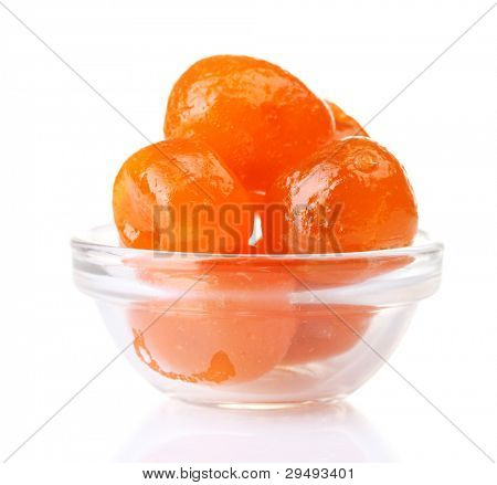 Dried tangerines in bowl isolated on white
