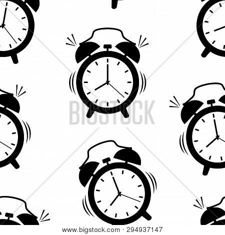 Seamless Pattern With Black Alarm Clock On White Background. Vector Illustration