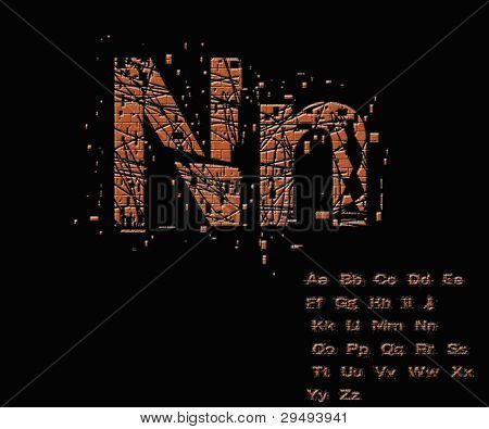 One Letter From Stone Alphabet Set  From N