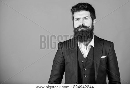 Bearded Man Event Manager. Male Formal Fashion. Stylish Event Manager. Brutal Caucasian Hipster With