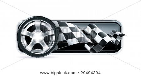 Racing banner with car wheel, vector