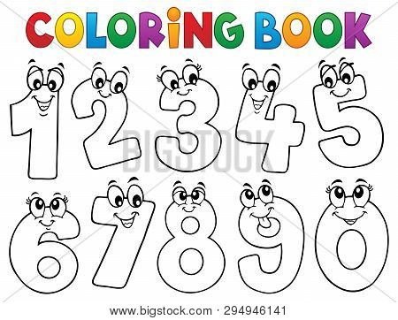 Coloring Book Cartoon Numbers Set 1 - Eps10 Vector Picture Illustration.