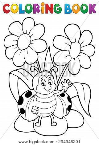 Coloring Book Flower And Happy Ladybug 1 - Eps10 Vector Picture Illustration.