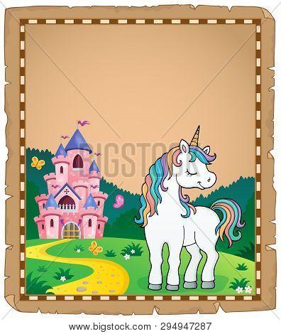 Dreaming Unicorn Theme Parchment 3 - Eps10 Vector Picture Illustration.