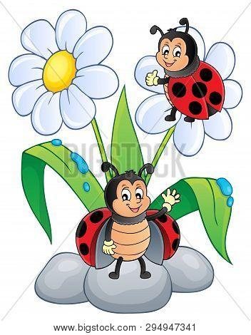 Flower And Happy Ladybugs Theme Image 1 - Eps10 Vector Picture Illustration.