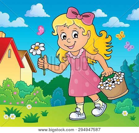 Girl With Flower Theme Image 2 - Eps10 Vector Picture Illustration.