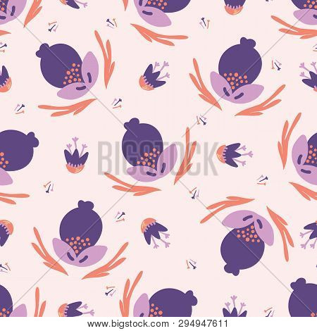 Hand Painted Large Scale Floral Vector Seamless Pattern. Coral Purple Background