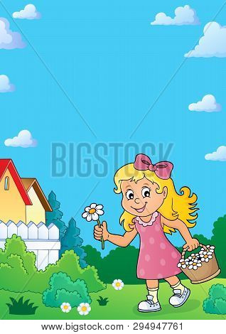 Girl With Flower Theme Image 4 - Eps10 Vector Picture Illustration.