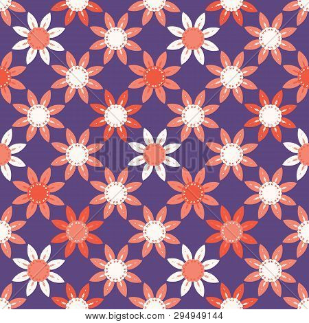 Hand Drawn Large Scale Floral Vector Seamless Pattern. Purple Background.