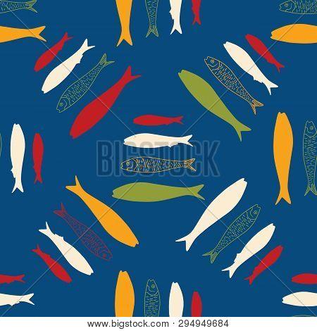 Sardine Festival Lisbon Seamless Vector Pattern Of Grilled Fishes. St Antonio
