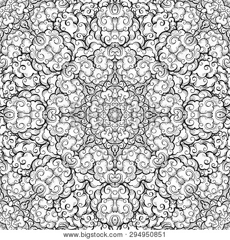 Clouds Hand Drawn Abstract Seamless Pattern. Overcloud Ink Pen Texture. Black And White Drawing. Ske