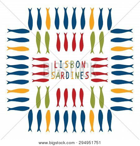 Sardine Motif Clipart With Lisbon Text. Grilled Fishes Symbol For St Antonio Traditional Portugese F