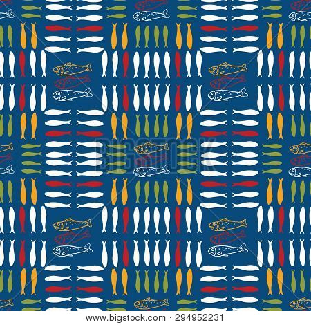 Sardine Shoal Of Fish Seamless Vector Pattern. Lisbon St Antonio Traditional Portugese Food Festival