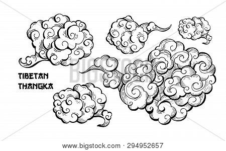 Brown Clouds And Wind Blows Hand Drawn Vector Illustration. Smoke Ink Pen Clipart. Chinese Art Abstr